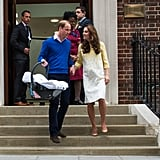 "For her second postpartum hospital appearance, Kate again opted to wear Jenny Packham, this time a custom white and yellow floral dress. The look, paired with nude heels instead of wedges, was less casual than her first. The more formal appearance supports the idea that Kate was much more at ease and secure in her role, having been through the process before.   Again her postpartum figure was discussed, but for women who'd experienced childbirth themselves, the biggest shock was the colour she'd chosen. Given the realities of postpartum recovery (giant mesh undies, anyone?!) white was a bold choice, and yet another reminder that the royals aren't exactly ""just like us."""