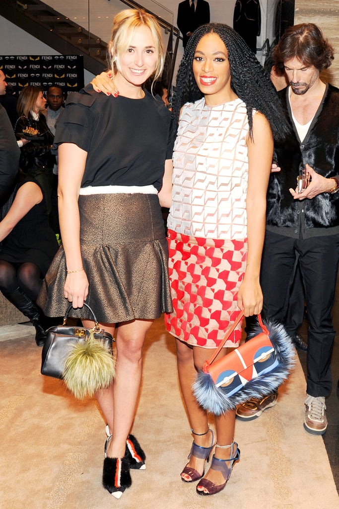 Elisabeth von Thurn und Taxis and Solange Knowles in Fendi at Vogue's Fendi Buggies launch.
