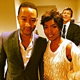 John Legend posed with Angela Bassett at his Hollywood Bowl Hall of Fame ceremony. Source: Instagram user johnlegend