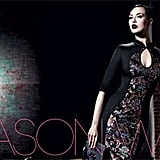 Wearing Jason Wu's chinoiserie-inspired sheath, Shalom Harlow exudes Fall elegance here.