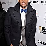 Actor and comedian Marion Wayans arrived at the Night Before Dinner event in a blue bow tie.