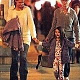 Katie Holmes, Suri Cruise, and Katie's mom Kathleen dined at ABC Kitchen in NYC.