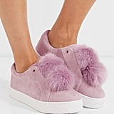 We would never suggest you throw out your white kicks, but when the weather is warmer, have fun with your footwear. A pair of Sam Edelman faux-fur suede slip-ons ($100) in pink seems appropriate.