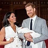 """Although the royal couple have only stepped out with their newborn son once, Meghan said she's enjoying every moment of motherhood. """"It's magic, it's pretty amazing,"""" she told the press on her family's first photo shoot. """"I have the two best guys in the world, so I'm really happy."""" The 37-year-old mom also said her son couldn't be sweeter. """"He has the sweetest temperament, he's really calm, and he's just been a dream, so it's been a special couple days."""" During the same interview, Harry explained that he's eager to see how his son grows over time. """"Everyone says that babies change so much over two weeks. We're basically monitoring how the changing process happens over this next month, really. His looks are changing every single day, so who knows?"""" He said, adding that: """"Parenting is amazing. It's only been two-and-a-half days, three days, but we're just so thrilled to have our own little bundle of joy and be able to spend some precious times with him as he slowly starts to grow up."""""""