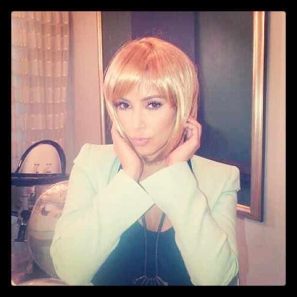 Kim Kardashian tried on a blond bob for size. Source: Instagram user kimkardashian