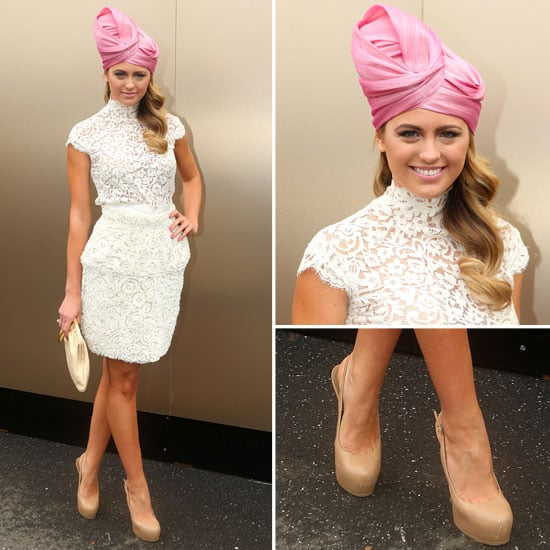 Jesinta Campbell Wear Pink Turban to 2012 Melbourne Cup Day