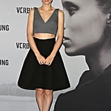 Rooney Mara showed off her crop top on the black carpet.