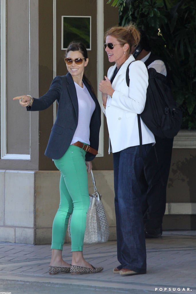 Jessica Biel stepped out looking refreshed for a lunch date with a girlfriend in LA yesterday. She sported a pair of bright green pants to accompany her healthy glow after returning from a relaxing getaway to visit fiancé Justin Timberlake in Puerto Rico. Bikini-clad Jessica hit the beach with a shirtless Justin for a game of paddle ball and sunbathing just last week. The star will be picking up where she left off promoting Total Recall, which hits theaters in August, after doing press for the film at Comic-Con earlier this month. Her fiancé has been busy with the filming of Runner, Runner in the Caribbean. Earlier this week, Justin and his costar Ben Affleck were spotted playing games on set.
