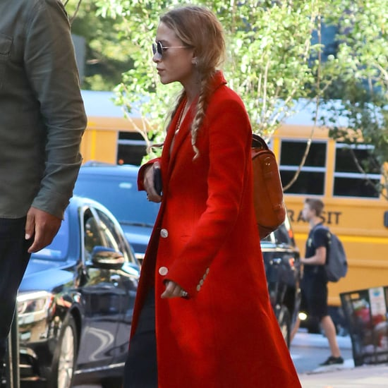 Mary-Kate Olsen's Red Coat October 2016