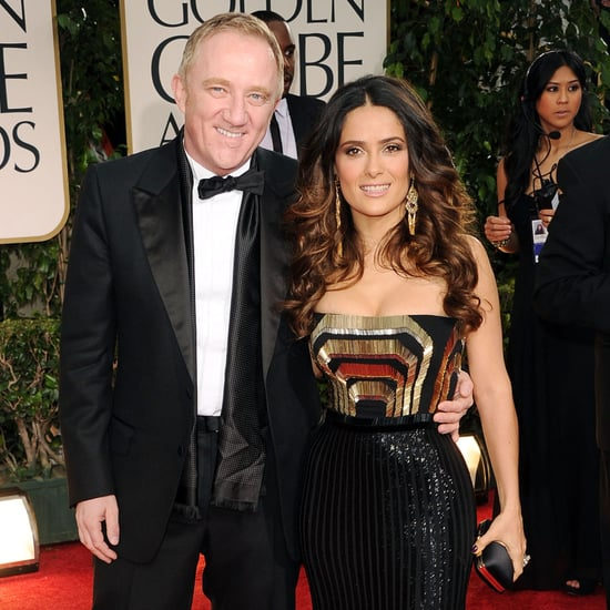 Salma Hayek Gucci Dress Pictures at Golden Globes 2012