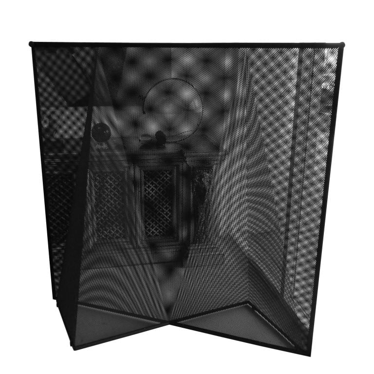 The Geometric Metal Screen by Mario Botta ($4,500) is made from two pieces of perforated metal juxtaposed to create an op art illusion.