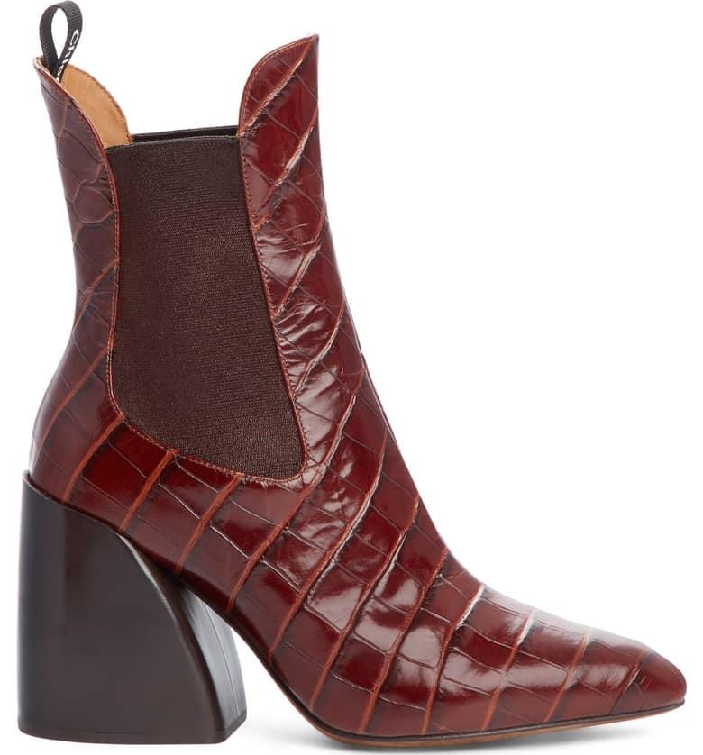 Chloe Croc Embossed Chelsea Boot Best Spring Boots 2019 Popsugar