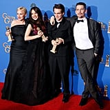 Patricia Arquette, Lorelai Linklater, Ellar Coltrane, and Ethan Hawke celebrated their Boyhood win in the press room.