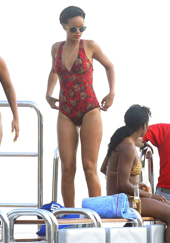 Rihanna Red Swimsuit Pictures