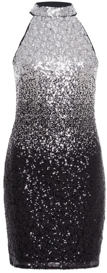 Quiz Black And Silver Ombre Sequin Turtle Neck Dress