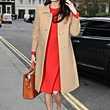 For a Work Party, Style a Bright Dress With a Sophisticated Coat and Party Heels