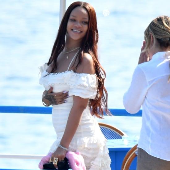 Rihanna White Dress on Vacation in Italy 2019