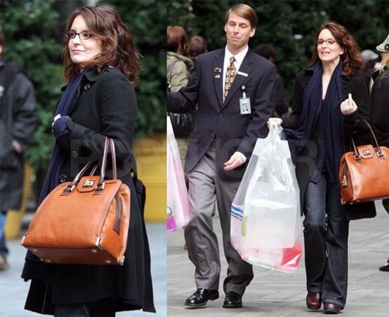 Tina Fey and Jack McBrayer Film 30 Rock in NYC