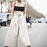 Make a crop top wearable with high-rise culottes.