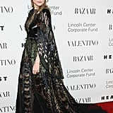 Diane attended a Valentino event in a breathtaking caped creation.