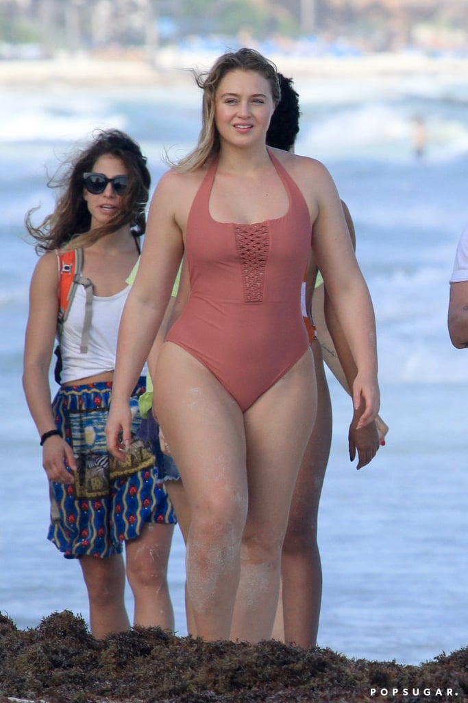 Iskra Lawrence Orange Aerie One Piece Swimsuit Popsugar Fashion