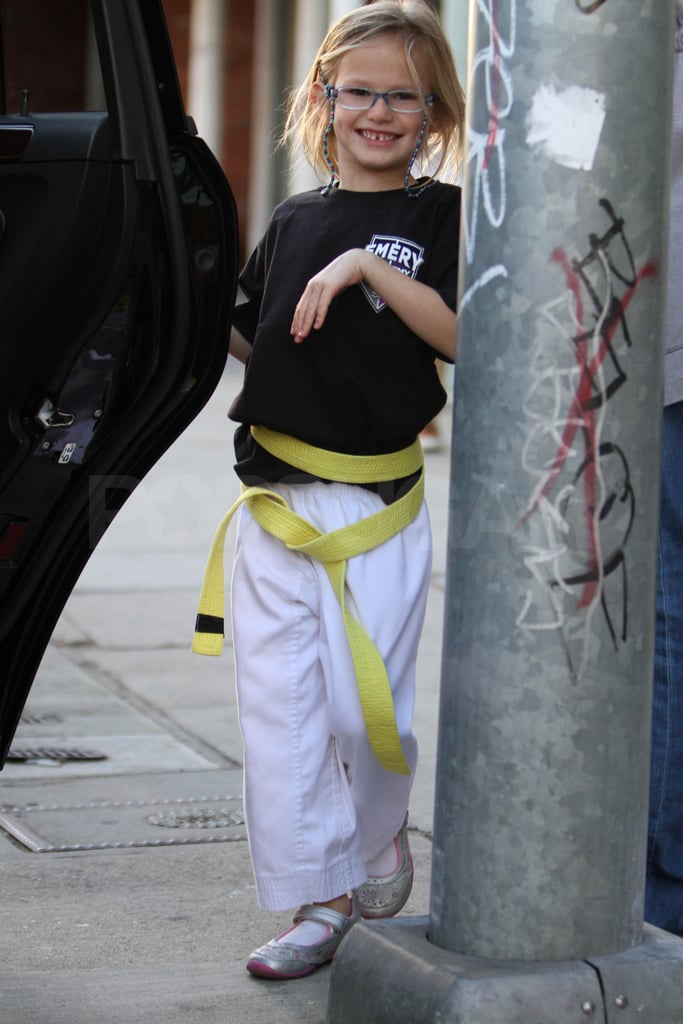 Violet proudly wore her yellow belt.