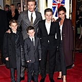 The Beckhams hit the red carpet for the Spice Girls musical Viva Forever in London back in December 2012.