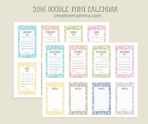 Mini Year Calendar : The more mini er free printable calendars