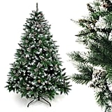 Homde Artificial Christmas Tree 6 feet with Flocked Snow Pine Cone