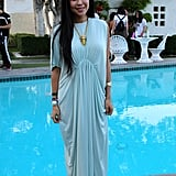 This amazing mint green maxi from H&M looked lovely by the pool, but it was the bold jewelry that really elevated the design, including a few dainty rings from Dogeared.