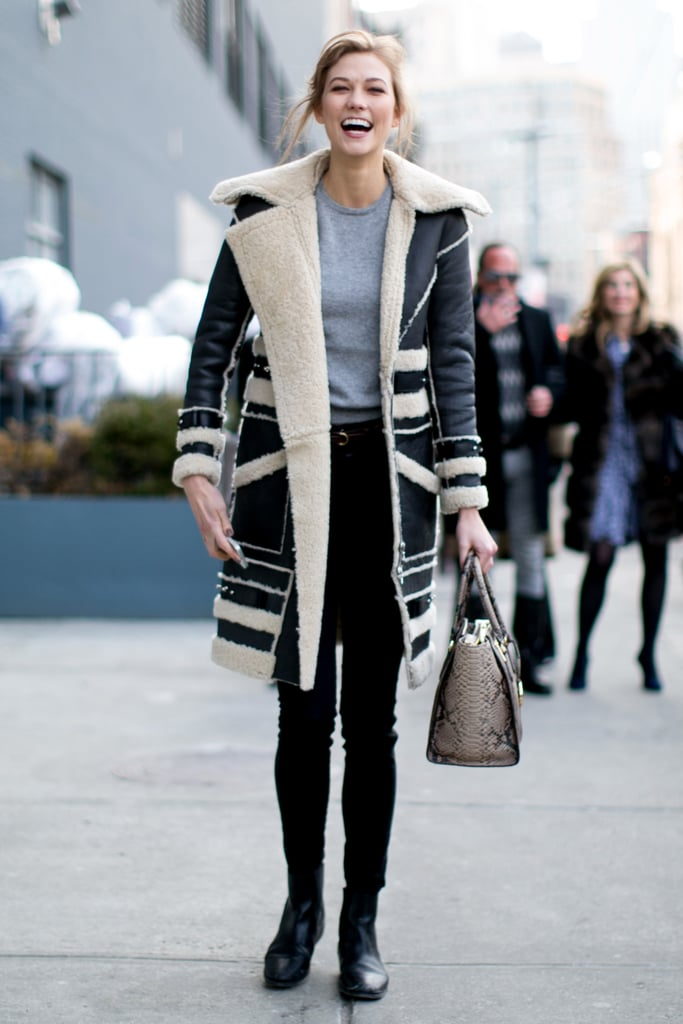 Is it just us, or does Karlie Kloss have the best shearling coat (and smile)?