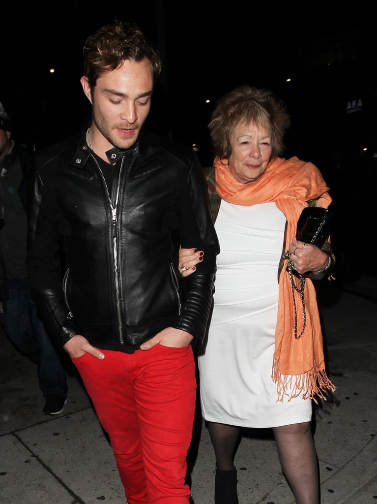 Ed Westwick had an adorable night out with his mom, Carole Westwick, in West Hollywood, CA, on Friday night. The former Wicked City actor and his mom grabbed a bite at The Nice Guy restaurant before making their way outside. Ed led the way for his mom, who sweetly held on to his arm and waved to nearby fans. This is just the latest we've seen of the actor since ABC canceled Wicked City back in November, although Ed will be starring in the upcoming crime thriller Jekyll Island alongside Dianna Agron and AnnaSophia Robb later this year. Keep reading to see more of the mother-son duo, and then check out all the times Ed was wickedly handsome.