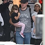 Matt Damon and Gia arrived at LAX.