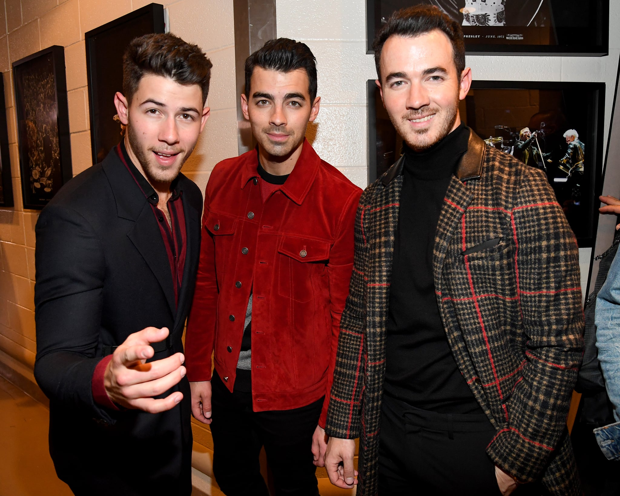 NEW YORK, NEW YORK - DECEMBER 13: Nick Jonas, Joe Jonas, and Kevin Jonas backstage at iHeartRadio's Z100 Jingle Ball 2019 Presented By Capital One on December 13, 2019 in New York City. (Photo by Kevin Mazur/Getty Images for iHeartMedia)