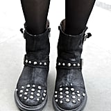 Studded biker boots added a subversive edge to this LFW look.