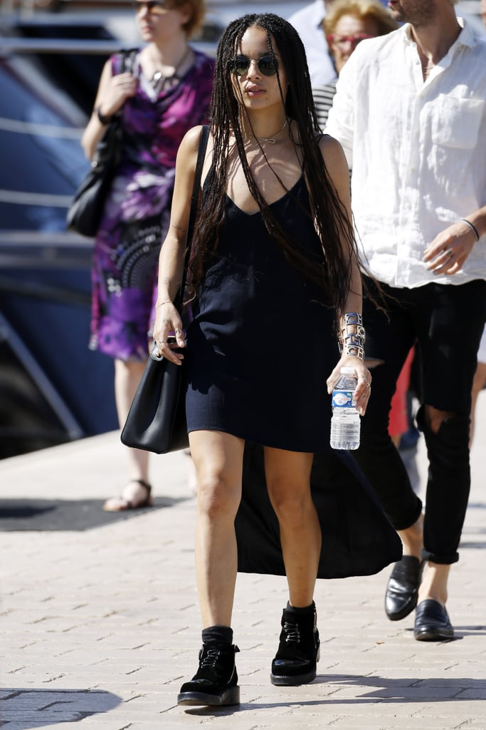 Zoë Kravitz Wearing a Black Slip Dress With Combat Boots