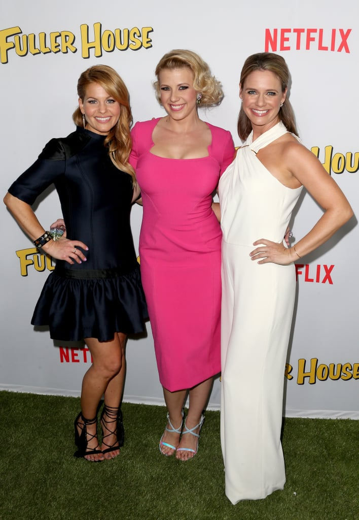 The whole Tanner gang's all here! The cast of Netflix's Fuller House came together for their LA premiere on Tuesday, looking like one big happy family. Real-life BFFs Candace Cameron Bure and Andrea Barber flashed their mega-watt smiles for photographers, as did Jodie Sweetin, who was accompanied by her handsome fiancé, Justin Hodak, and her two daughters Zoie and Beatrix. Along with them, cast members Bob Saget, John Stamos, and Dave Coulier all showed up to the reboot's big event with additional support from creator Jeff Franklin, Scott Weinger, Soni Bringas and Lori Loughlin, who brought along her gorgeous daughters Isabella and Olivia.  The cast has been promoting the '90s reboot spinoff for quite some time now, constantly sharing behind-the-scenes pictures on Instagram, and most recently, debuting the entire Fuller House trailer on The Ellen DeGeneres Show. Keep reading to see the best moments from the night, and then catch up on all the details regarding the show before it premieres on Feb. 26.