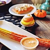 Orange Sugar Churro With Candy Corn Sauce