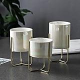 Trio Set of Pearlescent Ceramic Plant Pot Holders