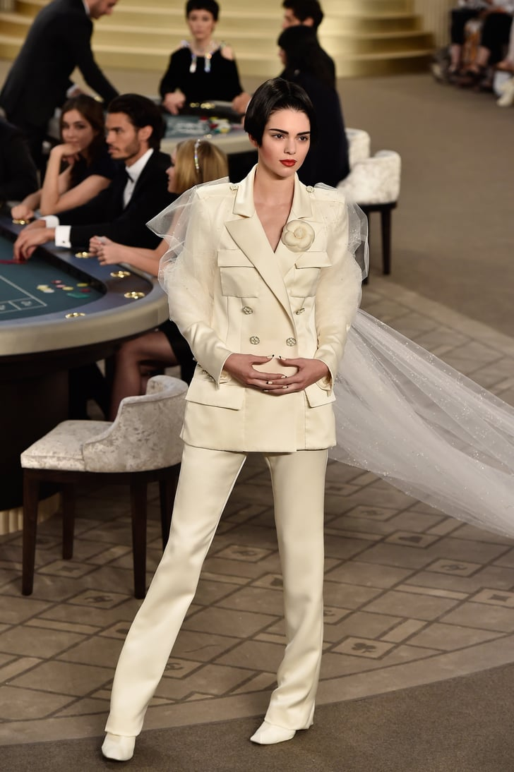 Kendall jenner walked the runway in a bridal tuxedo for What s a couture pop