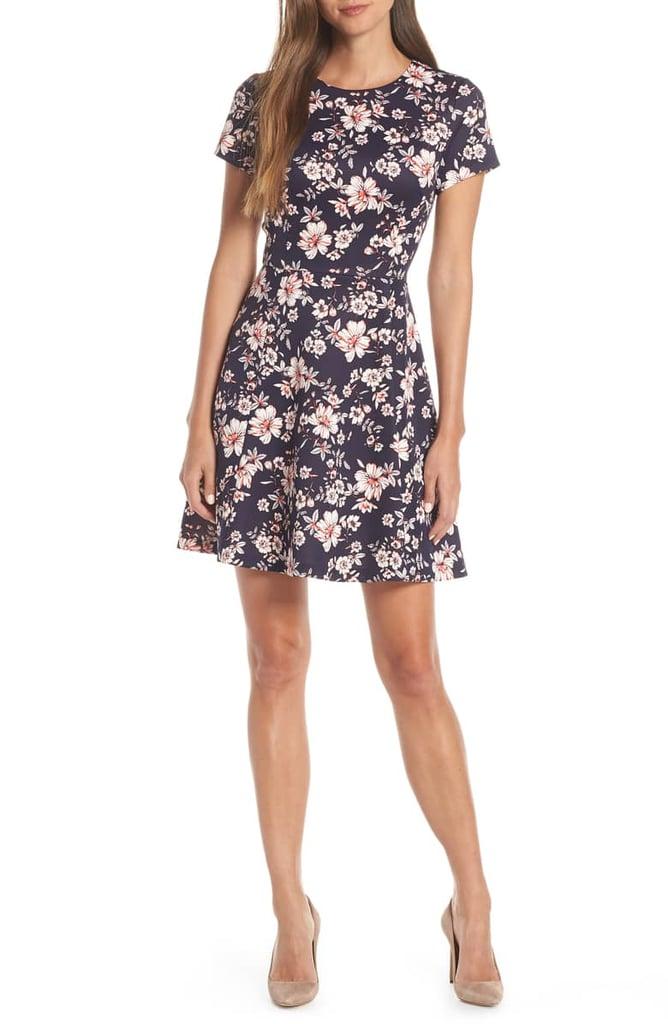 9944b88e08 Vince Camuto Floral Print Scuba Crepe Fit   Flare Dress