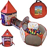 Rocket Ship Play Tent, Tunnel, and Ball Pit With Basketball Hoop