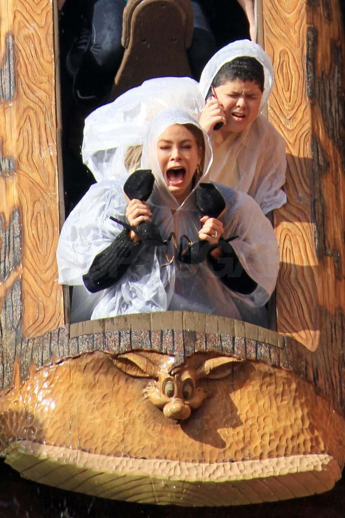"Sofia Vergara and her onscreen son, Rico Rodriguez, went for a ride on Disneyland's Splash Mountain yesterday. The costars were filming a scene for Modern Family and Sofia looked terrified as they dropped into the water. Rico shared his excitement about their on-location shoot, tweeting, ""Filming with @SofiaVegara at the happiest place on Earth! #lifeisgood."" The rest of the small-screen gang was also on hand, including Ty Burrell, Julie Bowen, Ed O'Neill, Eric Stonestreet, and Jesse Tyler Ferguson. While they were busy working, their hilarious Leap Day episode aired last night.  Sofia and Julie were together over the weekend as well at Vanity Fair's Oscar party, where Sofia wore a strapless Roberto Cavalli gown and Julie chose a bright orange dress. Ty also stepped out for the star-studded event, though Sarah Hyland opted for Elton John's annual bash instead."
