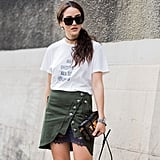 A utility skirt is effortless with a t-shirt and sunnies.