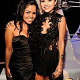 Selena Gomez and her cousin were matching in black dresses at the VMA's preshow.