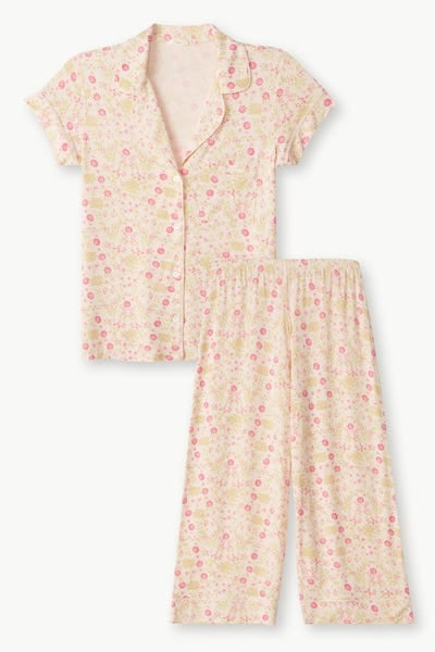 Eberjey Gisele Printed Short Sleeve and Cropped Pant PJ Set