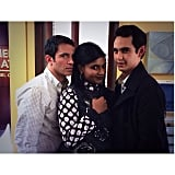 Kaling got into a Castellano brothers sandwich with guest star Max Minghella, who's coming on to play Danny's little bro. Jealous. Source: Instagram user mindykaling