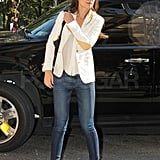 Katie Holmes kept to a tight schedule in NYC.