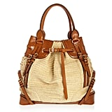 Burberry Prorsum Woven Raffia-Effect and Leather Bag