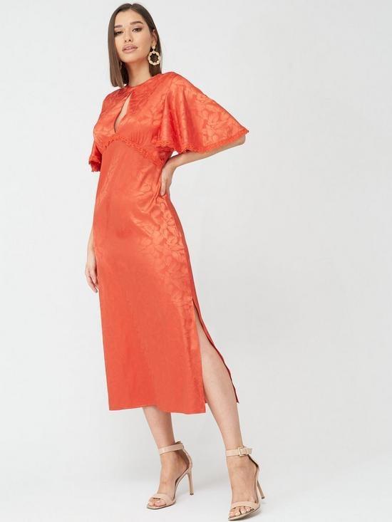 Little Mistress Short Sleeved Midaxi Jacquard Dress